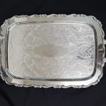 TRAY, SILVER 13 X 19.5, WITH HANDLES