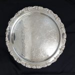 TRAY, SILVER 20″ ROUND, HARVEST GRAPE PATTERN