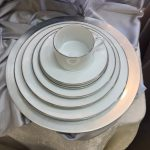 DINNERWARE- CHINA, WHITE W/SILVER BAND, DINNER PLATE (PKG. of 10)