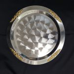 TRAY, STAINLESS, 15″ ROUND W/ GOLD ACCENT